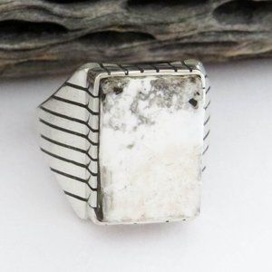 Men's White Buffalo Turquoise Sterling Silver Ring